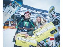 Mons Røisland vant, mens Silje Norendal tok tredjeplass i østeriske Kreischberg. Foto: Snowboardforbundet