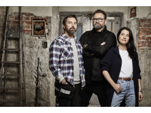 """Magnus """"Mange"""" Kvaernå, Adam Alsing och Maria Celin i Arga snickaren med Adam Alsing som får premiär den 15 februari 20:00 i Kanal 5. Foto: Magnus Ragnvid/Kanal 5"""