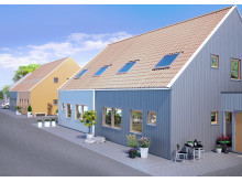 Illustration av husen på Snöstorps bygata, Halmstad