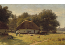 Vladimir Donatovich Orlovsky: Russian landscape with peasants at a farmer's house in the forest outskirts. Signed Orlovsky (in Cyrillic). 87 x 139 cm.