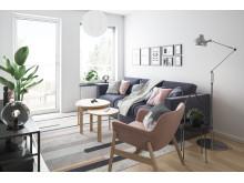 Illustration av vardagsrum, BoKlok-lägenhet  2 rok, 2019.