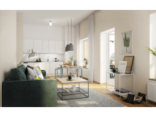 Grönkulla Gård, Drottninghög - skissbild på vardagsrum
