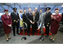 Bandklipping för Qatair Airways nya direktlinje Doha-Göteborg