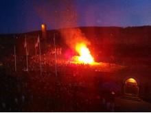Evenemang:  Valborgsfirande, brasan är tänd vid Stora Stöten, Falu Gruva