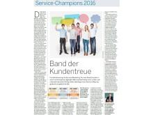Service-Champions 2016 in der WELT am 18.10.2016