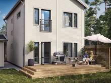 Brf Björnö Vik 2 - 3D-bild av de fristående husens baksida