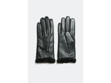 Leather gloves with faux fur