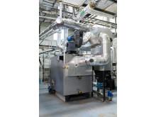Den nya pelletspannan vid Solör Bioenergis fjärrvärmeanläggning i Odensbacken