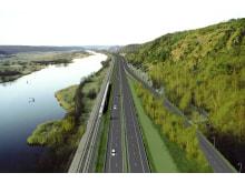 Motorvej og jernbane på Leca letfyld