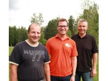 Fra v. fabrikksjef Jan Roger Broen, FoU-ansvarlig for akseleratorer Espen Rudberg og prosjektleder Werner Seigerud