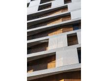 Vakre detaljer i fasaden på MAD-bygget. Foto: Jiri Havran