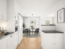 Brf Sundby Äng - 3D-bild av kök/matrum