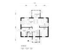 Planlösning villa Solgläntan, nedre plan