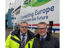 Jörgen Nilsson, vd Trelleborgs Hamn och Niclas Mårtensson, vd Stena Line