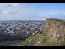 Edinburgh skyline seen from Salisbury Crags, Arthur's Seat.