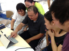 Managers at Chinese factory testing QuizRR's educational tool