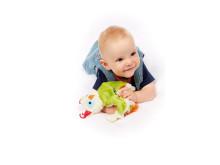 Baby mit Schnuffeltuch Eule