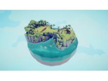 """Visas i utställningen Yarny, Medusa och en elefant. Miljö för den medeltida fraktionen Totally Accurate Battle Simulator med titeln """"Medieval Lvl 1"""" (2019), av Johan Lund för Landfall Games. © Landfall Games"""