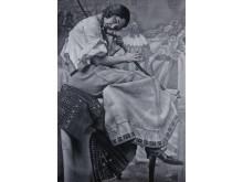 Tomas Lundgren, Reenact 1, 2018, olja på duk (270 x 190 cm )