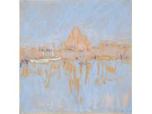 """Ellen Thesleff """"Helsingfors hamn"""", 1912. Olja på kartong"""