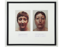 Martha Wilson, I Make Up the Image of My Perfection/I Make Up the Image of My Deformity, två färgfotografier med text, 1972/2008, 48 x 64 cm