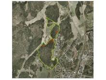 Gränsen för skyddet av Runbyskogen och Bergaskogen