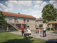 Illustration av entrésida för lägenheterna i BoKlok Pysslingen, som vetter ut mot den gemensamma gården.