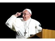 Påve Franciskus talar på Malmö arena