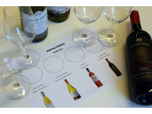 Juomavinkin tasting-alusta auttaa viinien aistinvaraisessa arvioimisessa.