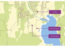 Karta för att hitta till Täfteå avloppsreningsverk