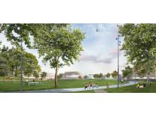 FOJAB Kunskaps- & Kulturcentrum Falkenberg Vy över Stadsparken