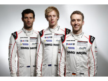 Le Mans 2016, Porsche Team, Mark Webber, Brendon Hartley, Timo Bernhard (l-r)