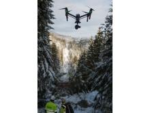 Drone ble benyttet for å få oversikt og søke etter feil på linjene