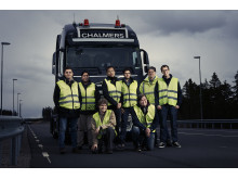 The Chalmers team working on the self-driving truck.