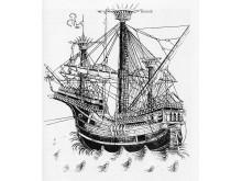 Teckning med fartyg av samma typ som Gribshunden