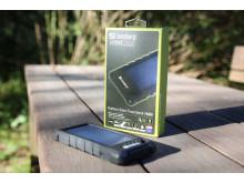 Solcellsladdad powerbank - miljö, förpackning