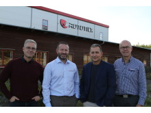 Per Väppling (VP marketing and sales), David Dominguez (Country Manager Rototilt SAS), Daniel Thomas (Area Sales Manager), Anders Jonsson (CEO)