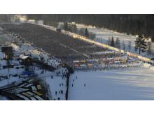 Starten av Vasaloppet 2011 flygbild