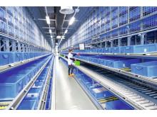 Effektive kombinationer af flere komponenter – det integrerede pick-by-light-system muliggør plukning direkte til forsendelseskasserne.