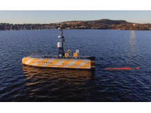 Image - Kongsberg Maritime - Drone footage capturing launch of the HUGIN AUV from the USV SEA-KIT