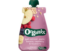 Organix just oatmeal, apple, banana, raspberry & blueberry