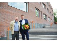 Prosjektleder for Undervisningsbygg, Andreas Halsebakke, og rektor ved Marienlyst skole, Knut Erik Brændvang.