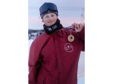 Markus Olimstad tok sitt første NM-gull på lørdag. Foto: Snowboardforbundet / Peter Gløersen