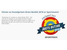 Sportmann vinnare av huvudpriset Årets Butik 2016, utsedda av Prisjakts användare.