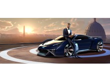 Audi RSQ e-tron (spionbil til animationsfilmen Spies in Disguise) med hovedperson Lance Sterling