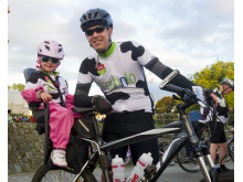 Stephen Murtagh and his daughter Keira getting ready to set off