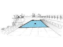 Bad i Frihamnens framväxande Jubileumspark