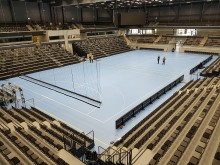 Sports Flooring and Telescopic installations, Multiarena Stiga Arena, Sweden made by Unisport