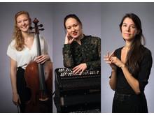 Finalister Solistpriset 2018: Amalie Stalheim cello, Irina Serotyuk ackordeon, Melissa Jacobson-Velandia piano.