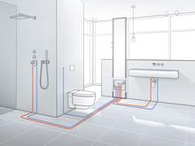 Moderna badrum utan synliga rör